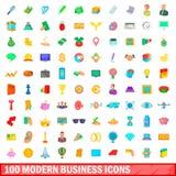 100 ícones modernos ajustados, estilo do negócio dos desenhos animados Imagens de Stock Royalty Free