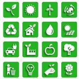 Ícones modernos da ecologia com sombra Fotografia de Stock Royalty Free