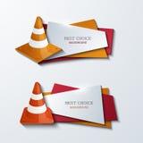 Ícones modernos das bandeiras dos cones do tráfego do vetor ajustados Foto de Stock Royalty Free