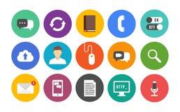 Ícones modernos de uma comunicação ajustados ilustração royalty free