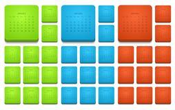 Ícones modernos do calendário do vetor 2015 ajustados Imagem de Stock Royalty Free