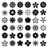 Ícones monocromáticos da flor ajustados Vetor Imagens de Stock Royalty Free