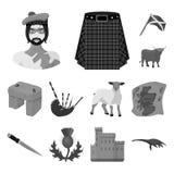 Ícones monocromáticos de Escócia do país na coleção do grupo para o projeto Sightseeing, cultura e tradição vector o estoque do s ilustração stock