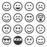 Ícones monocromáticos do sorriso ajustados no fundo branco Vetor Fotos de Stock