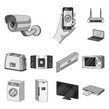 Ícones monocromáticos espertos dos aparelhos eletrodomésticos na coleção do grupo para o projeto Web moderna do estoque do símbol Fotografia de Stock