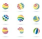 Ícones multicolor do globo abstrato ilustração stock