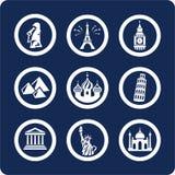 Ícones mundialmente famosos dos lugares (ajuste 7, parte 1) Foto de Stock Royalty Free