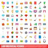 100 ícones musicais ajustados, estilo dos desenhos animados Foto de Stock Royalty Free