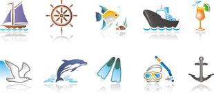 Ícones náuticos ilustração stock