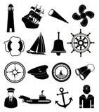 Ícones náuticos do marinheiro ajustados Imagem de Stock Royalty Free