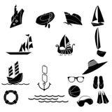 Ícones náuticos e do verão Foto de Stock