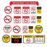 Ícones não fumadores ajustados no fundo branco Foto de Stock Royalty Free