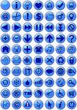 Ícones na obscuridade - azul do Web Fotografia de Stock