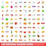 100 ícones nacionais ajustados, estilo da culinária dos desenhos animados Fotos de Stock