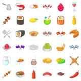 Ícones nacionais ajustados, estilo do alimento dos desenhos animados Imagem de Stock