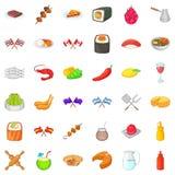 Ícones nacionais ajustados, estilo do prato dos desenhos animados Fotos de Stock Royalty Free