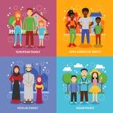 Ícones nacionais das famílias ajustados ilustração do vetor