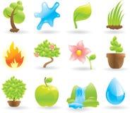 Ícones naturais ajustados Ilustração Stock