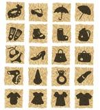 Ícones no papel amarrotado ilustração stock