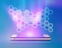 Ícones no telefone celular da tela do fulgor Fotos de Stock Royalty Free