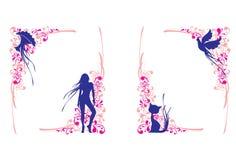 Ícones no teste padrão floral ilustração royalty free