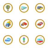 Ícones novos ajustados, estilo do veículo dos desenhos animados ilustração do vetor