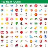100 ícones novos ajustados, estilo dos desenhos animados ilustração royalty free