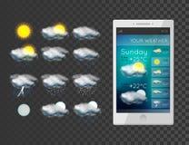 Ícones novos do tempo ajustados Imagem de Stock
