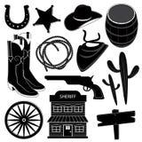 Ícones ocidentais selvagens ajustados Imagens de Stock