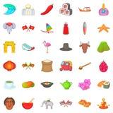 Ícones orientais ajustados, estilo do sentido dos desenhos animados Imagem de Stock Royalty Free