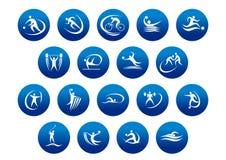 Ícones ou símbolos do esporte do atletismo e de equipe Foto de Stock Royalty Free