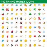 100 ícones pagando ajustados, estilo do dinheiro dos desenhos animados Fotografia de Stock Royalty Free