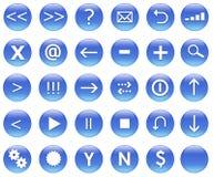 Ícones para as ações do Web ajustadas azuis Foto de Stock