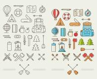 Ícones para a aventura ao estilo do plano Fotos de Stock