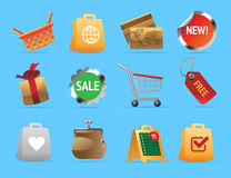 Ícones para a compra Imagem de Stock