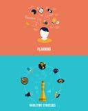 Ícones para estratégias de marketing e planeamento Imagem de Stock Royalty Free