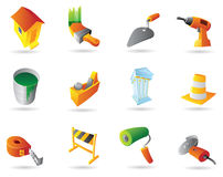 Ícones para a indústria da construção civil Fotografia de Stock Royalty Free