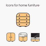 Ícones para a mobília home Imagem de Stock