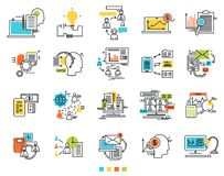 Ícones para o comércio eletrónico Ícones da ideia da engenharia Meios de Sosial As linhas de contorno finas com suficiências de c Foto de Stock