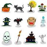 Ícones para o Dia das Bruxas Foto de Stock Royalty Free