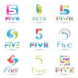 Ícones para o número 5 Imagem de Stock