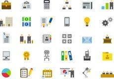 Ícones para o negócio, o escritório e o trabalho Fotografia de Stock