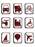 Ícones para o tipo diferente do transporte Imagem de Stock