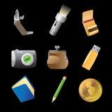 Ícones para pertences pessoais Fotografia de Stock Royalty Free