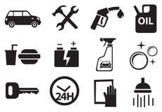 Ícones para serviços no posto de gasolina Foto de Stock Royalty Free