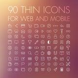 90 ícones para a Web e o móbil Foto de Stock