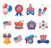 Ícones patrióticos dos EUA Fotografia de Stock Royalty Free
