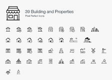 39 ícones perfeitos de construção do pixel das propriedades (linha estilo) Foto de Stock Royalty Free