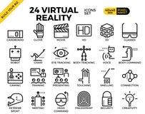 Ícones perfeitos do esboço do pixel da realidade virtual Fotografia de Stock Royalty Free