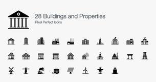 28 ícones perfeitos do pixel das propriedades das construções Imagens de Stock